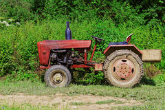 Old tractor. In forest, side view Stock Image