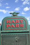 Old tractor grill of a Hart Parr. ROLLAG, MINNESOTA, September 14, 2014: The old Parr grill comes from Hart-Parr Tractor Company which began operations in 1897 royalty free stock image