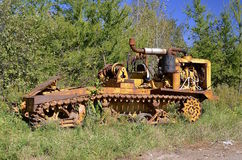 Old tractor log crawler on tracks Stock Images