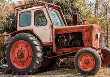 Old tractor machine royalty free stock photo