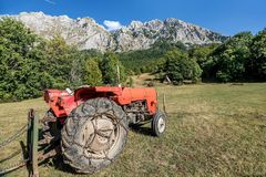 Old Tractor  on  the mountain Zelengora, Bosnia and Herzegovina Stock Images