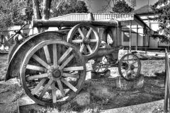 Old tractor. Old rusty tractor black&white Royalty Free Stock Image