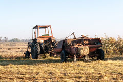 Old tractor standing on the field Stock Photo