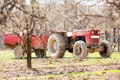 Old tractor with trailer Royalty Free Stock Photos