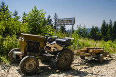 Old tractor with trailer Royalty Free Stock Photo