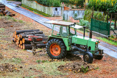 Old tractor used in a timber industry Royalty Free Stock Photo