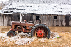 Old Tractor in Winter Royalty Free Stock Photography