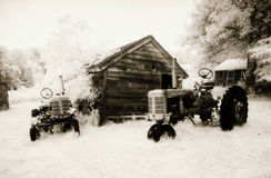 Old Tractors Photographed in Infrared Stock Photos