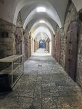 Old trade tunnel under the fortress of Acre Stock Image