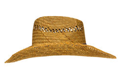 Old Traditional American Farmer Straw Hat Isolated Stock Image