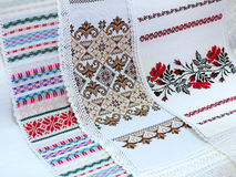 Old traditional balkan handmade floral embroidery on white canva Royalty Free Stock Photo