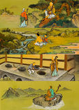 The old traditional buddhist painting on wall Stock Photos