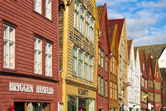 Old traditional buildings in Bergen. Old traditional buildings in Bryggen, the old quarter of Bergen (Norway). Bryggen constitutes the oldest part of the city Royalty Free Stock Photos