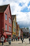 Old traditional buildings in Bergen. Old traditional buildings in Bryggen, the old quarter of Bergen (Norway). Bryggen constitutes the oldest part of the city Royalty Free Stock Images