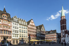 Old traditional buildings in Frankfurt at the Roemer square, Ger Royalty Free Stock Photos