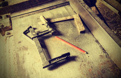 Old traditional carpenter's tools, retro vintage style. Royalty Free Stock Images