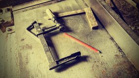 Old traditional carpenters tools retro vintage style Royalty Free Stock Image