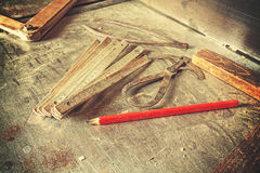 Old traditional carpentry tools. Stock Image