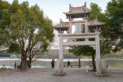 Old traditional Chinese stone gate on the coast Royalty Free Stock Photo