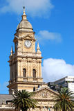 Old traditional clock tower. In Cape Town City Hall, Cape town, South Africa Royalty Free Stock Photo