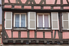 Old traditional colorful half-timbered houses in Colmar, France Stock Photos