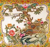 Old Traditional Colorful Thai Porcelain Pattern. Old Thai Traditional Colorful Porcelain Pattern of Beautiful Birds and Flowers Royalty Free Stock Images