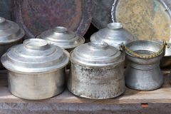 Old traditional cooking cups Stock Images