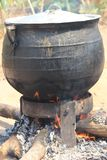 Old traditional cooking method  in Nigeria royalty free stock photo