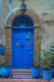 Old traditional doorway in the Moroccan town of Essaoira. Stock Photo