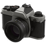 Old, traditional film SLR camera on white 3D Illustration Royalty Free Stock Images