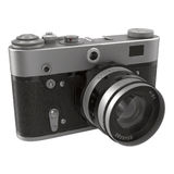 Old, traditional film SLR camera on white 3D Illustration Stock Photography
