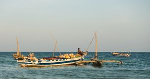 Old traditional fishermen`s boat Indian Ocean Stock Photo
