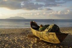 Old traditional fishing boat at Beau Vallon beach, Seychelles Royalty Free Stock Photos