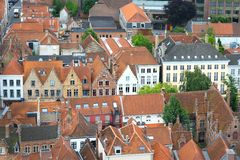 Old Traditional Flemish Houses in Brugge Stock Images
