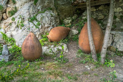 Old traditional georgian ceramic jugs for wine.  Stock Image