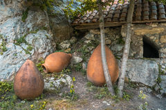 Old traditional georgian ceramic jugs for wine.  Royalty Free Stock Image