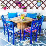 Old Traditional Greece, chairs in taverna. Traditional Greece,Cute Wooden Chairs in Taverna stock image