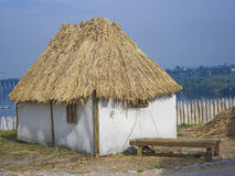 Old traditional house. Old traditional ukrainian house with thatched roof royalty free stock photos
