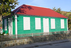 Old traditional house in Gustavia at St Barts. ST BARTS, FRENCH WEST INDIES - JUNE 11, 2015:Old traditional house in Gustavia at St Barts. It is the only stock photo