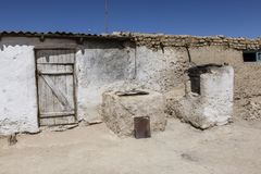 Old traditional house with stove in Bulunkul in Tajikistan. Asia royalty free stock photos