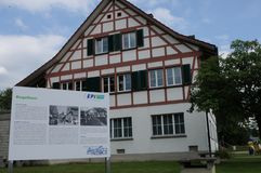 Old traditional house at Swiss Epilepsy Clinic in Zürich. 125 years celebration of EPI the Swiss Epilepsy Centre in Zürich royalty free stock image