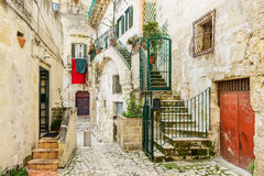 Old traditional houses and buildings of Matera old town, Italy Stock Photos