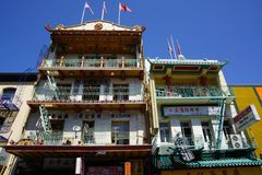 Old traditional houses in china town san francisco stock photos