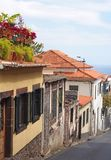 Old traditional houses on a downhill street in funchal madeira with orange roof tiles and shuttered windows with colorful potted. Plants on the roof and the sea stock photography