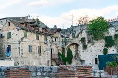 Old traditional houses in downtown Split, Croatia. Old traditional houses in antique downtown Split, Croatia royalty free stock photo