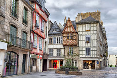 Old traditional houses in the historic part of Quimper Stock Photos