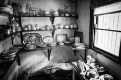 Old Traditional Irish Farmhouse Kitchen Pantry. This pantry forms part of a kitchen area in an old farmhouse in the west of Ireland Stock Photos