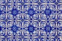 Old traditional portuguese azulejo tiles. On a wall of a house in Porto Royalty Free Stock Photo