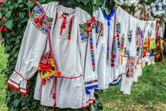 Old traditional Romanian folk costumes with embroidery Royalty Free Stock Photography