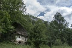 Old traditional romanian house in the forest. Among trees and clouds, made with massive wood Stock Image